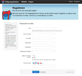 Verlanglijstje: Stap 1 - Maak een account aan