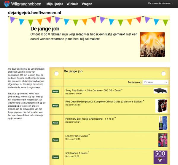 Verlanglijstje: Stap 8 - Ga in je browser naar je publieke verlanglijstje